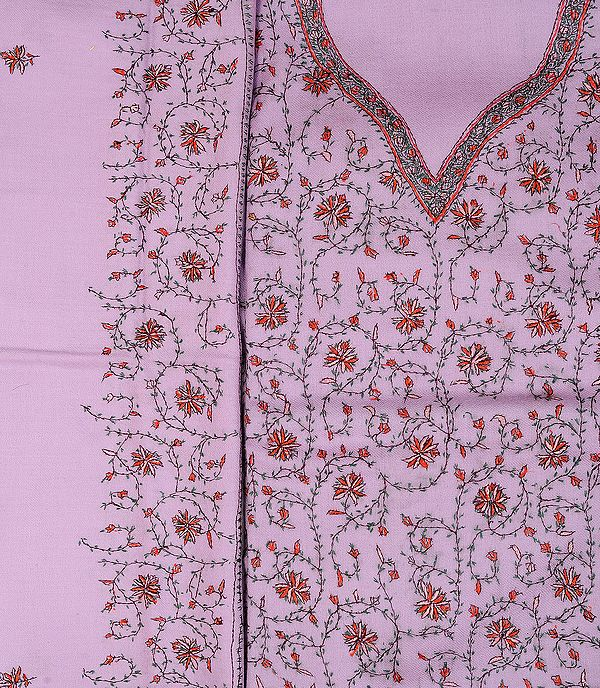 Moonlite-Mauve Salwar Kameez Fabric from Kashmir with Sozni Embroidered Flowers by Hand