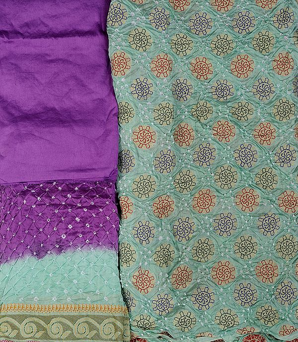 Fair-Green and Purple Bandhani Tie-Dye Salwar Kameez Fabric from Gujarat with Woven Flowers in Golden Thread