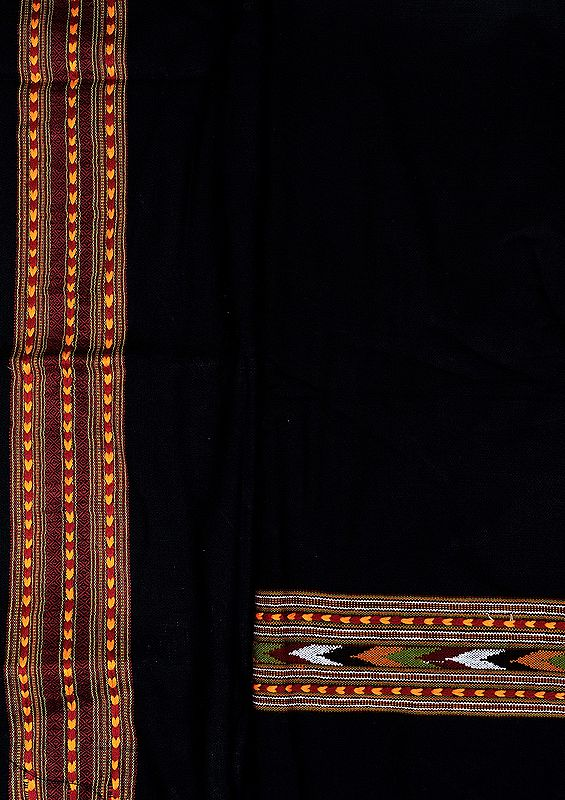 Caviar-Black Salwar Kameez Fabric From Kullu with Kinnauri Hand-Woven Border
