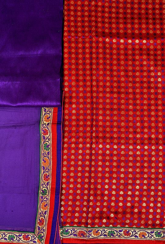 Ribbon-Red and Purple Banarasi Salwar Kameez Fabric with Woven Bootis and Patch Border
