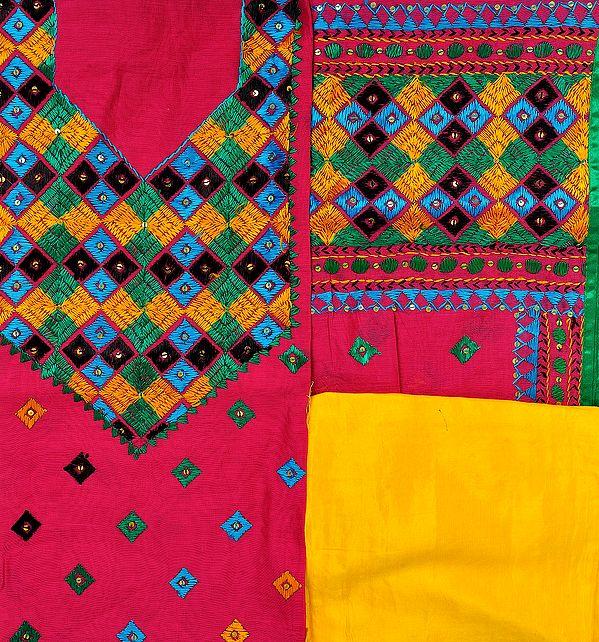 Fuchsia-Rose and Yellow Phulkari Hand-Embroidered Salwar Kameez Fabric from Punjab