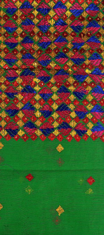 Vibrant-Green Phulkari Embroidered Salwar Kameez Fabric From Punjab with Sequins
