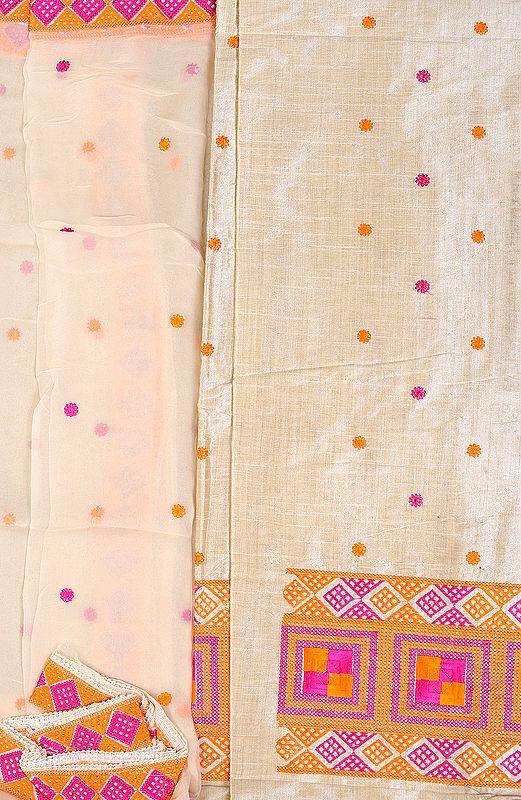 Brulee-Colored Salwar Kameez Fabric From Punjab with Phulkari Embroidery