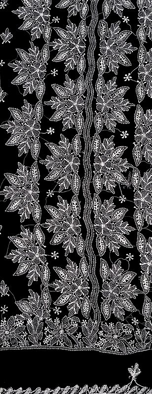 Black Salwar Kameez Fabric with Lukhnawi Chikan Embroidery by Hand