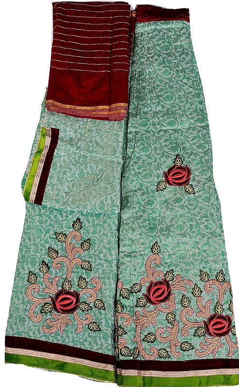 Zephyr-Green Designer Banarasi Lehenga Choli Fabric with Metallic-Thread Embroidery and Velvet Applique