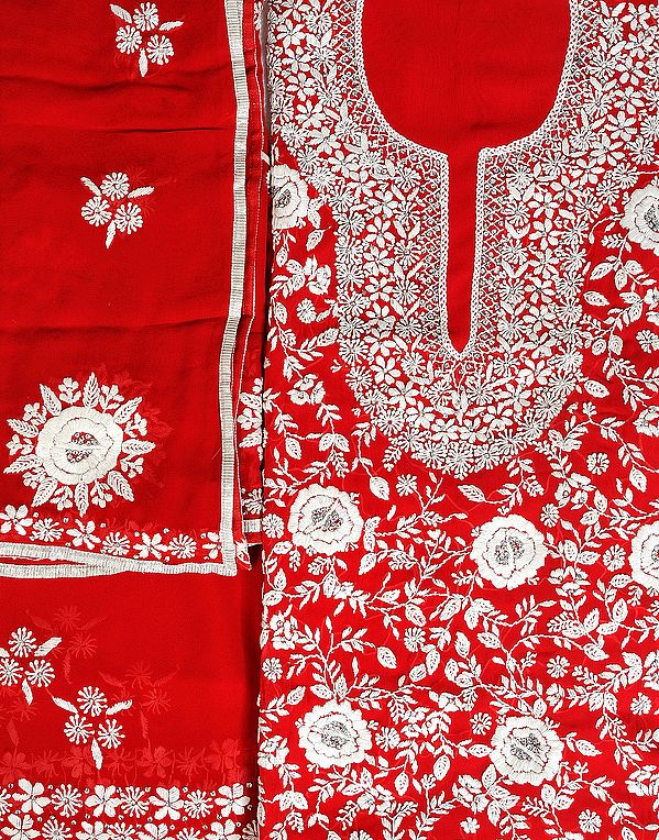 True-Red Salwar Kameez Fabric with Phulkari Hand-Embroidery and Sequins