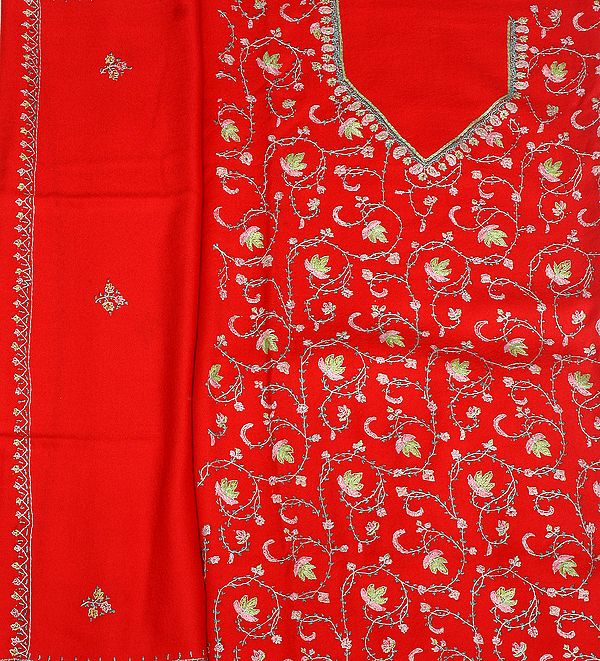 Tomato-Red Tusha Salwar Kameez Fabric from Kashmir with Needle-Embroidered Maple Leaves by Hand