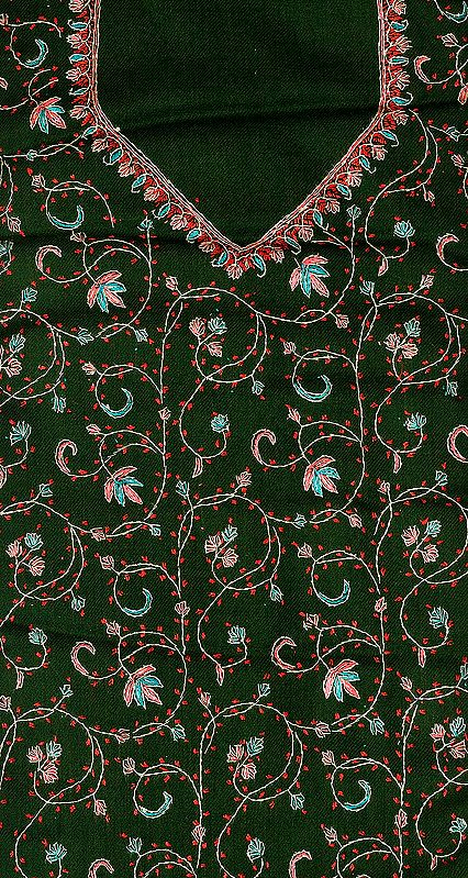 Garden-Green Tusha Salwar Kameez Fabric from Kashmir with Sozni Hand-Embroidery All-Over