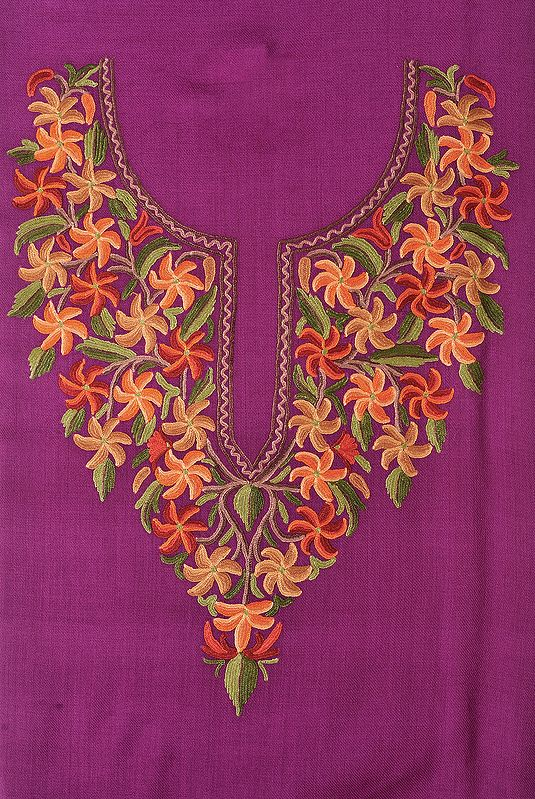 Dahlia-Colored Two-Piece Salwar Kameez Fabric from Kashmir with Ari Hand-Embroidered Flowers on Neck