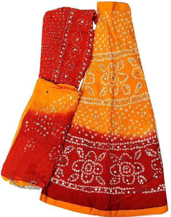 Radiant-Yellow and Red Bandhani Tie-Dye Lehenga Choli from Jaipur with Large Sequins