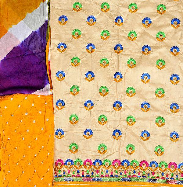 Salwar Kameez Fabric from Gujarat with Embroidered Bootis and Bandhani Dupatta