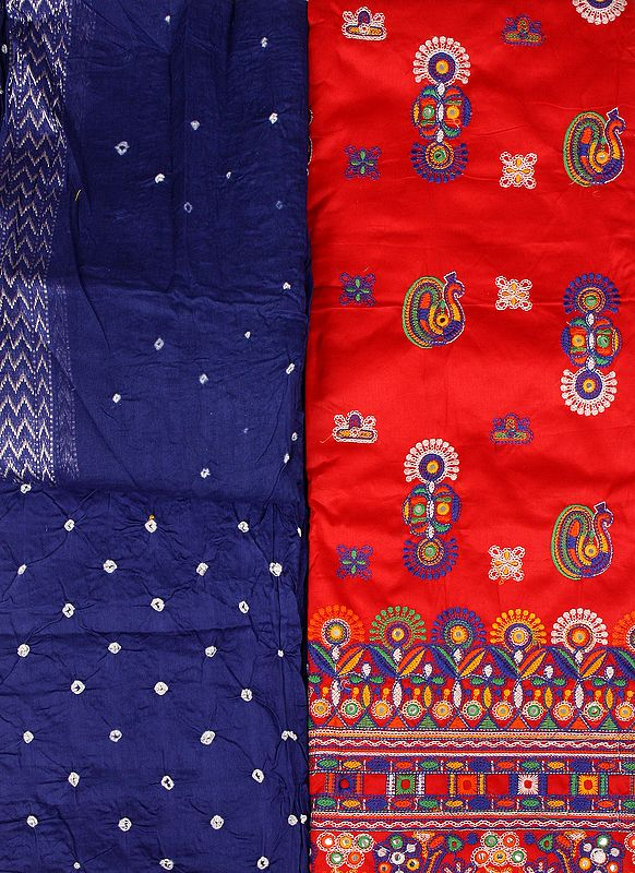 Salwar Kameez Fabric from Gujarat with Embroidered Peacocks and Mirrors