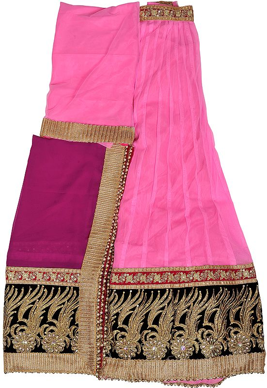 Light-Pink and Boysenberry Lehenga Choli Fabric with Embroidered Velvet Patch Border and Stone-Work