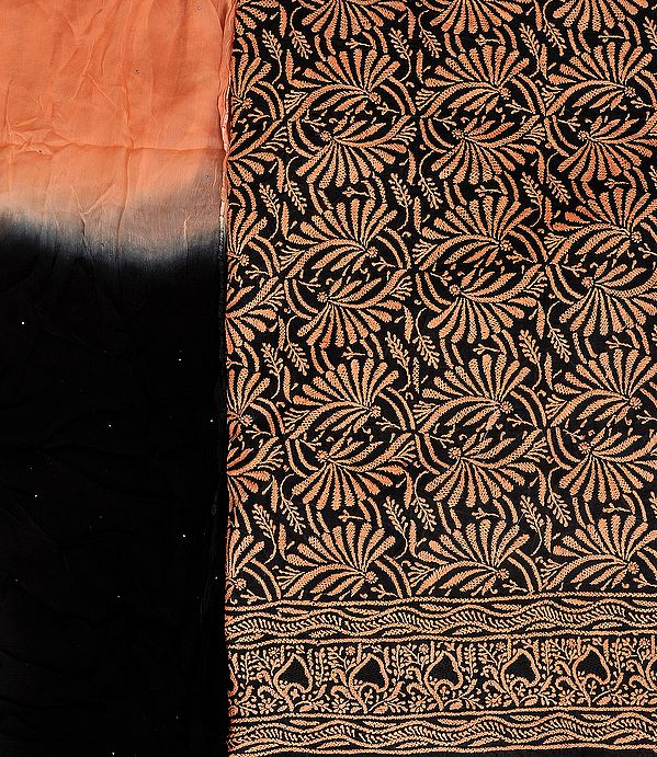 Black and Peach-Bloom Salwar Kameez Fabric with Lukhnawi Chikan Embroidery by Hand
