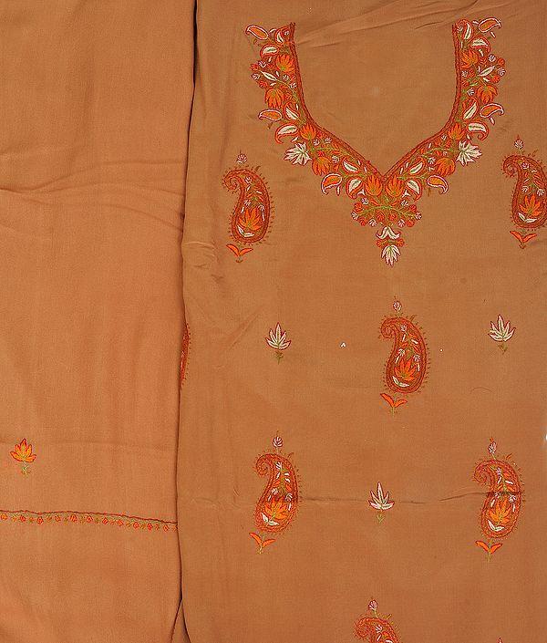 Bone-Brown Salwar Kameez Fabric from Kashmir with Sozni Hand-Embroidered Paisleys
