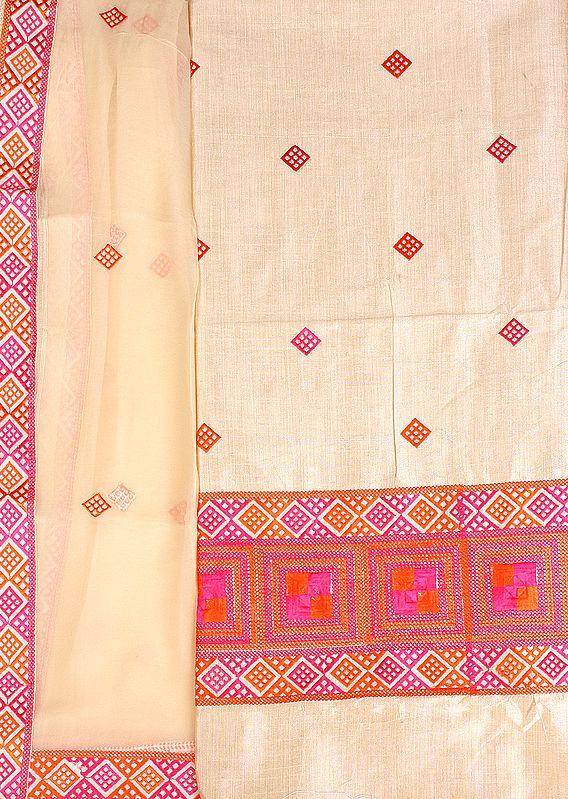 Salwar Kameez Fabric From Punjab with Phulkari Embroidery