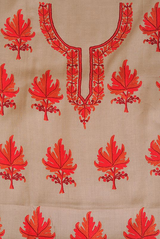 Plaza-Taupe Two-Piece Salwar Kameez Fabric from Kashmir with Ari Hand-Embroidered Maple Leaves
