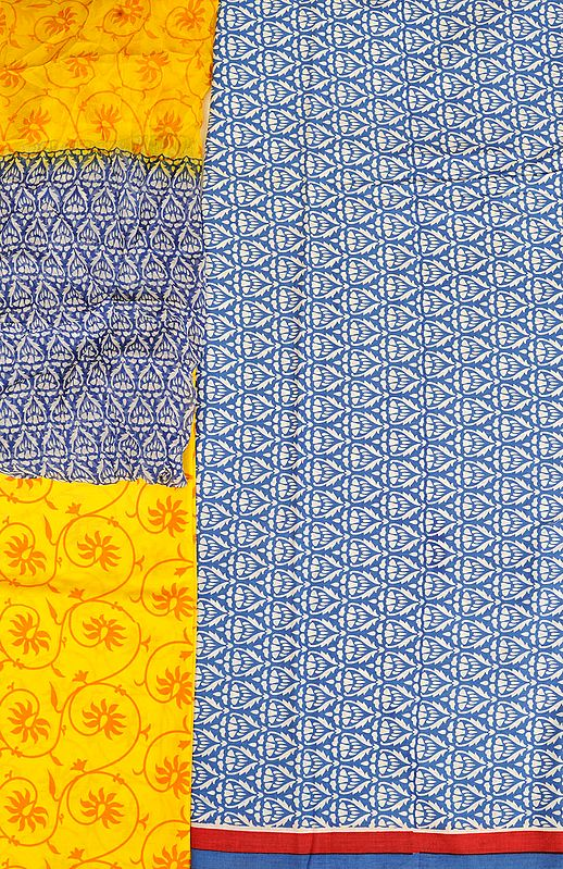 Blue and Yellow Printed Salwar Kameez Fabric with Striped Border