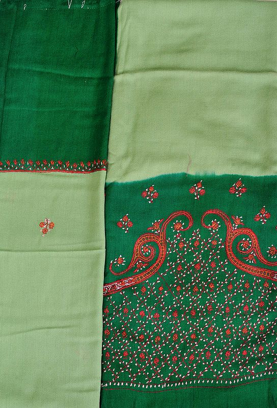 Green and Meadow Double-Shaded Tusha Salwar Kameez Fabric from Kashmir with Sozni Hand-Embroidery and Paisleys