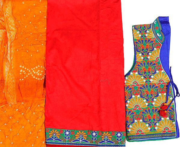 Red and Apricot Four-Piece Salwar Kameez Fabric from Gujarat with Self-Weave Flowers and Embroidered Bolero Jacket