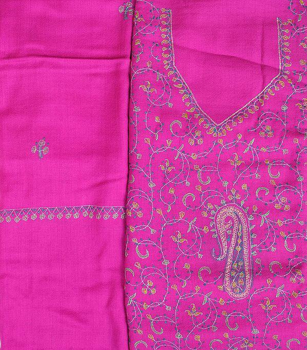 Raspberry-Rose Sozni Hand-Embroidered Tusha Salwar Kameez Fabric from Kashmir
