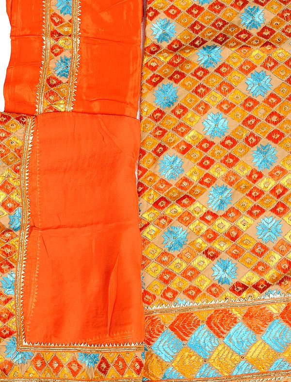 Beige and Orange Phulkari-Embroidered Salwar Kameez Fabric From Punjab with Sequins