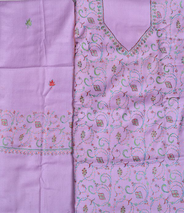 Orchid-Bloom Tusha Salwar Kameez Fabric from Kashmir with Sozni Hand-Embroidery