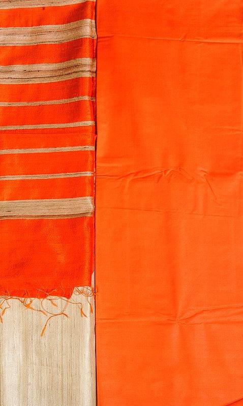 Orange and Beige Plain Salwar Kameez Fabric with Striped Dupatta
