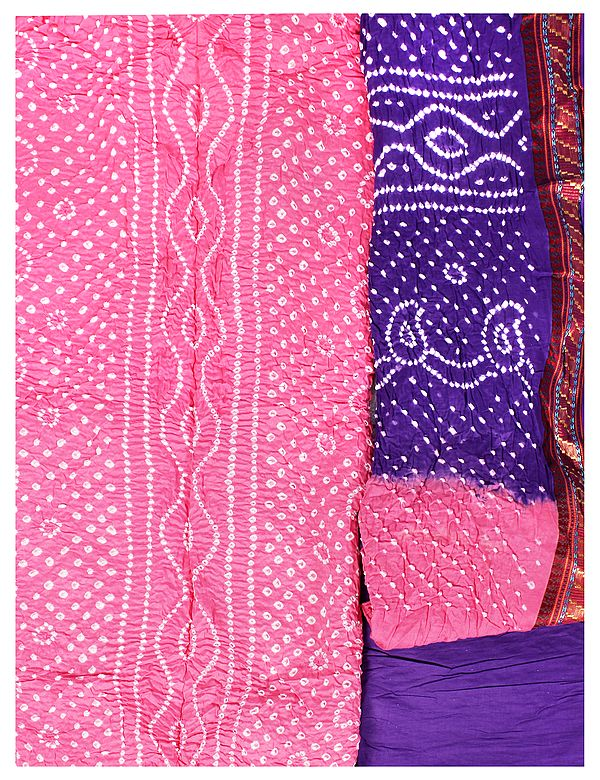 Hot-Pink Bandhani Tie-Dye Salwar Kameez Fabric from Gujarat with Woven Border