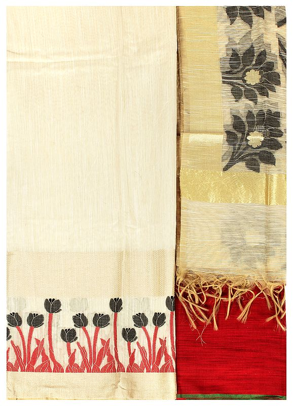 Banarasi Salwar Kameez Fabric with Woven Bootis and Golden Border