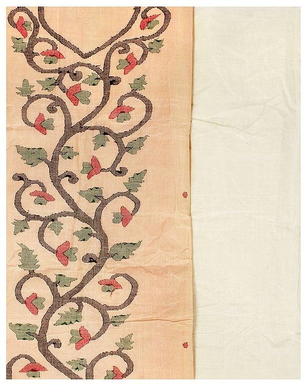 Almond-Cream Salwar Kameez Fabric from Banaras with Woven Flower Vines