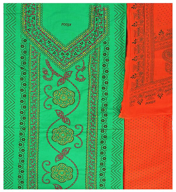 Jelly-Bean Printed Salwar Kameez Fabric with Kantha Hand-Embroidery and Beads