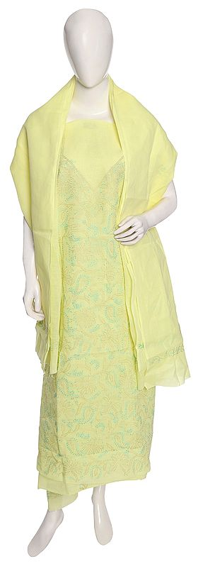 Lukhnavi Chikankari Salwar Kameez Fabric with Embroidered Floral Pattern