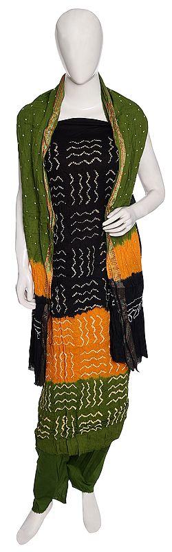 Bandhani Tie-Dye Salwar Kameez Cotton Fabric from Gujarat