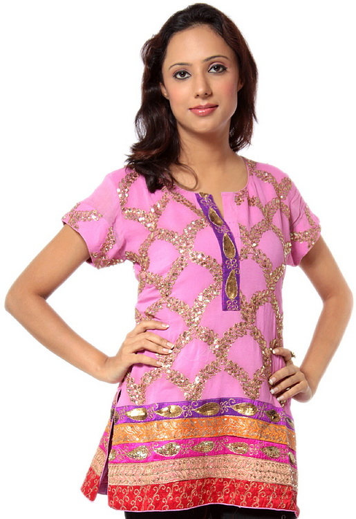 Pink Kurti Top with Hand-Embroidery and Threadwork