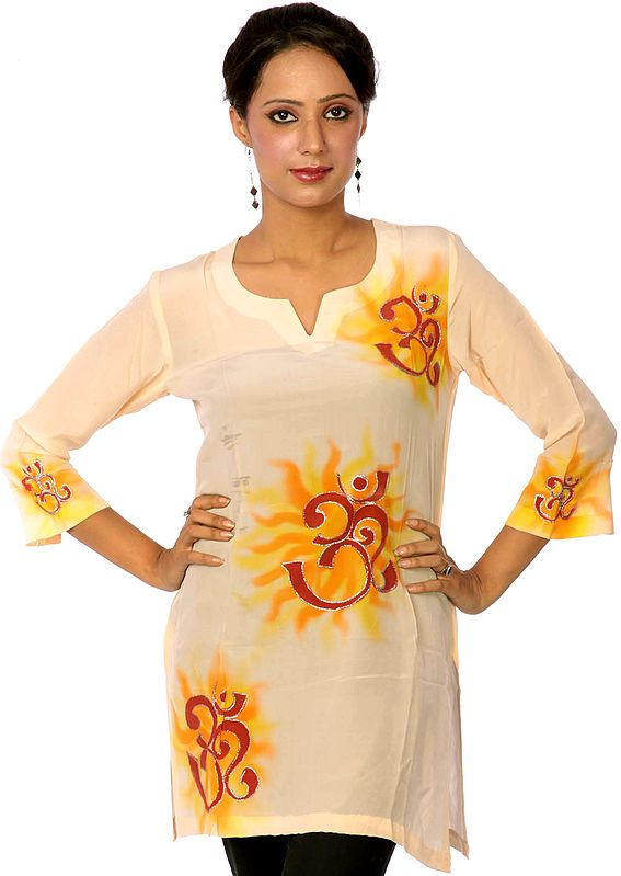 Peach Kurti with Hand-Painted Oms