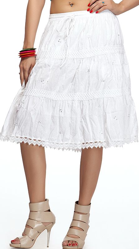 White Short Skirt with Beads and Lace