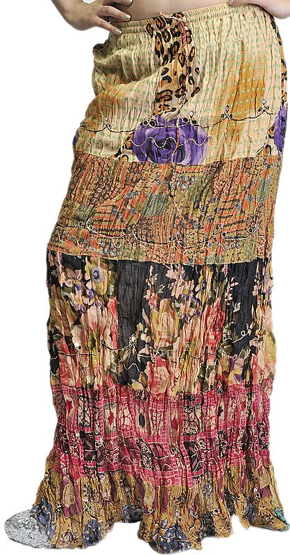 Multi-Color Crushed Elastic Skirt with Printed Flowers