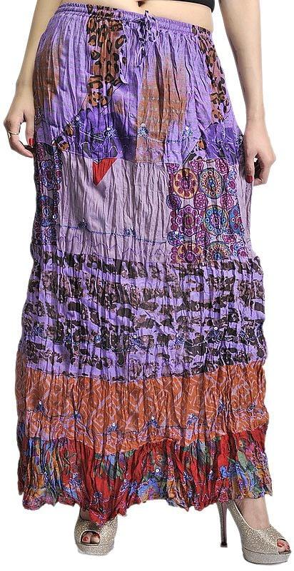 Lavender Crushed Elastic Skirt with Batik Print