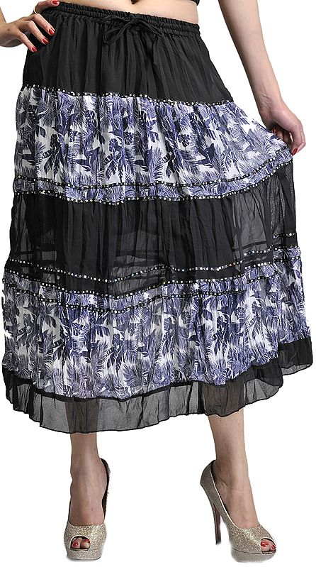 Black Midi-Skirt with Printed Palm Trees and Embroidered Sequins