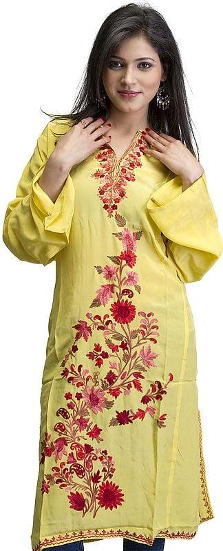 Cyber-Yellow Kashmiri Phiran with Ari Embroidered Flowers