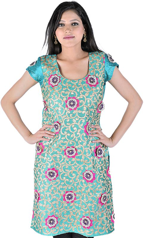 Ceramic-Green Applique Kurti From Surat With Metallic Thread Embroidered Flowers