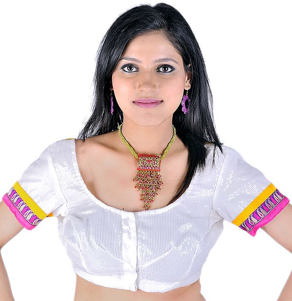 Ivory Sari Blouse With Sequins And Banarasi Border