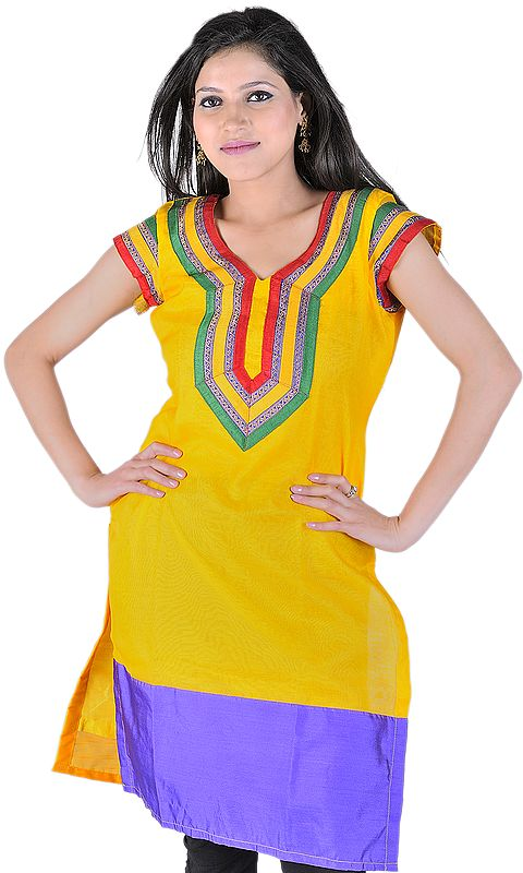 Spectra-Yellow Kurti from Banaras With Tri-Color Patch and Solid Wide Border