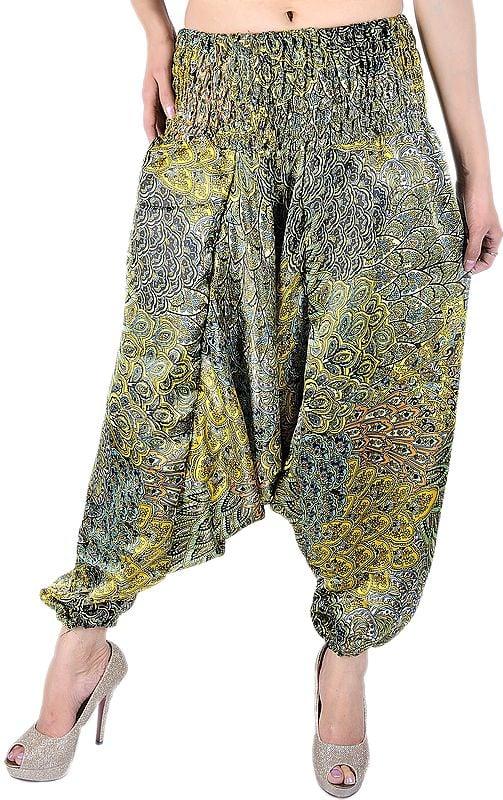 Primrose-Yellow and Green Printed Harem Trousers