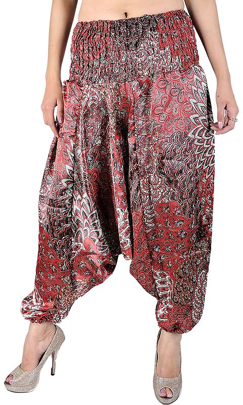 Mars-Red and Green Printed Harem Trousers