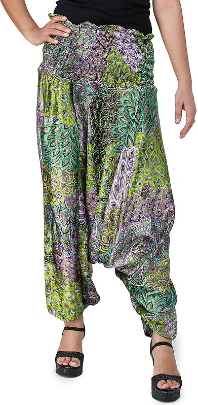 Printed Satin Harem Trousers