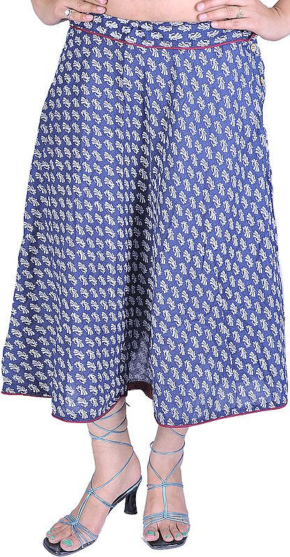 Coronet-Blue Wrap-On Printed Skirt with Piping