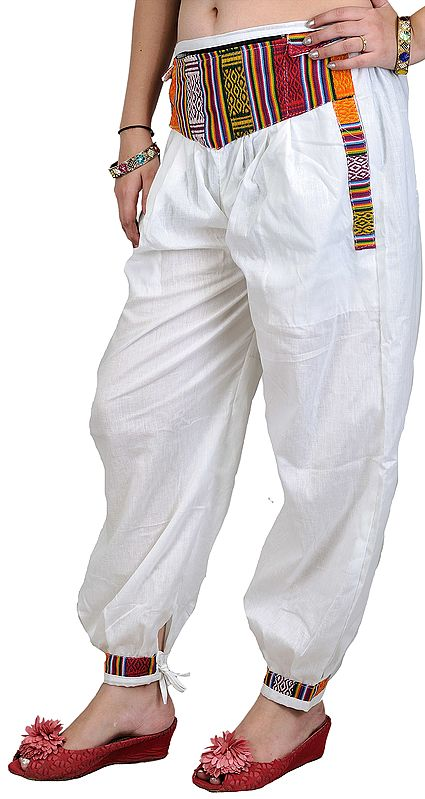 White Casual Trousers with Woven Patch and Side Pockets
