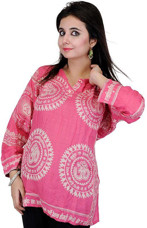 Pink Kurti Top with Sanatan Dharma Mantra